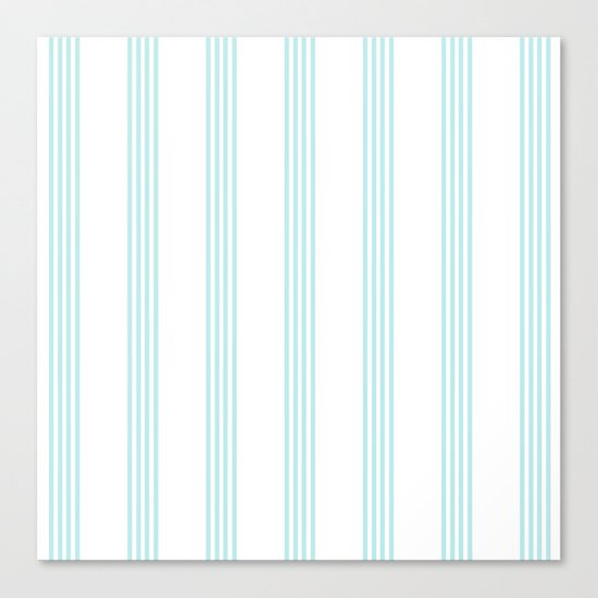 Striped I - Turquoise stripes on white- Beautiful summer pattern Canvas Print