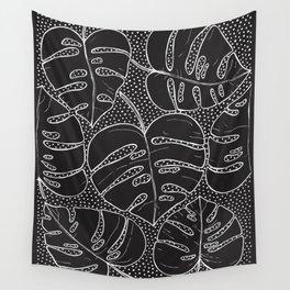 Poá Monstera B&W Wall Tapestry