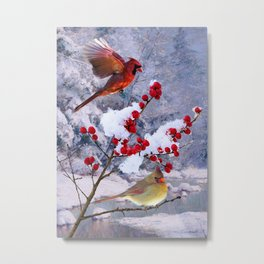 Red Birds of Christmas Metal Print