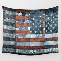 flag Wall Tapestries featuring American flag by Bekim ART