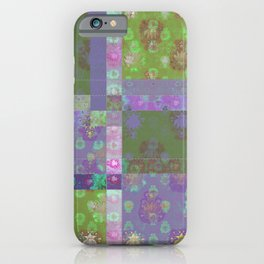 Lotus flower purple and lime green stitched patchwork - woodblock print style pattern iPhone Case