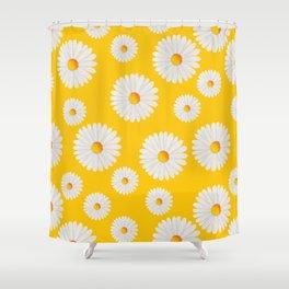Yellow Daisy Repeat Shower Curtain