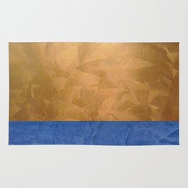 Copper Metallic With Tuscan Blue Stripe Trim Rug
