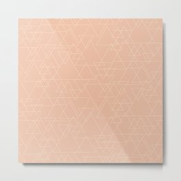 Vector Triangle Pattern in Peach and Gold Metal Print