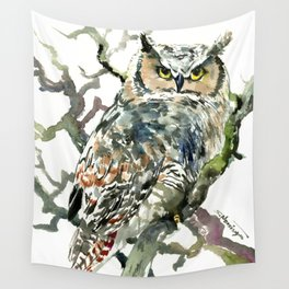 Great Horned Owl in Woods Wall Tapestry