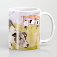 border collie Mugs featuring Border Collie by Caballos of Colour