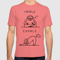 Inhale Exhale Sloth Mens Fitted Tee LARGE Pomegranate