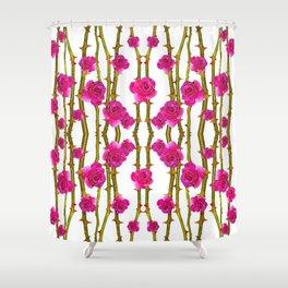 "FUCHSIA PINK ""ROSES & THORNS"" WHITE ART Shower Curtain"