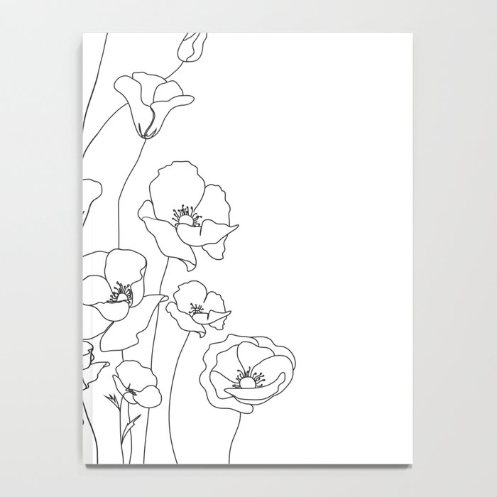 Poppy Flowers Line Art Notebook