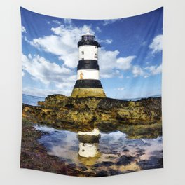 Penmon Lighthouse Painting Wall Tapestry