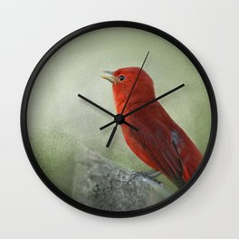 Song of the Summer Tanager 3 - Birds Wall Clock