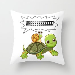 Cute & Funny Snail Riding on Turtle Yelling Whee Throw Pillow