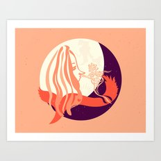 Off to the moon Art Print