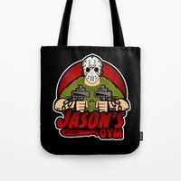 gym Tote Bags featuring Jacon's Gym by Buby87