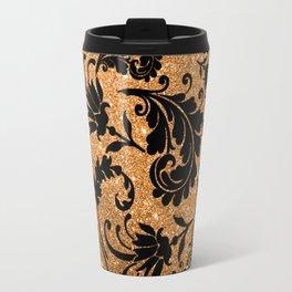 Vintage black faux gold glitter floral damask pattern Travel Mug