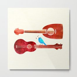 Red Guitars With Bluebird Metal Print