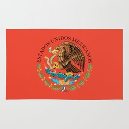 Mexican Flag seal on orange red background Rug