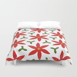 Poinsettia and leaves Duvet Cover