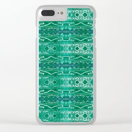 Vintage Tribal Distressed Green Clear iPhone Case