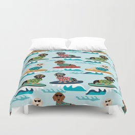 dachshund surfing dog breed pattern pet gifts Duvet Cover