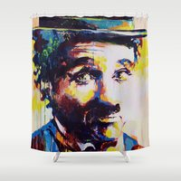 chaplin Shower Curtains featuring Charlie Chaplin by Marta Zawadzka