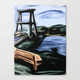 Bench and Bridge Canvas Print