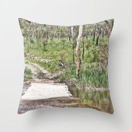 Rustic water crossing Throw Pillow