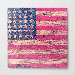 Vintage Pink Patriotic American Flag Retro Wood Metal Print