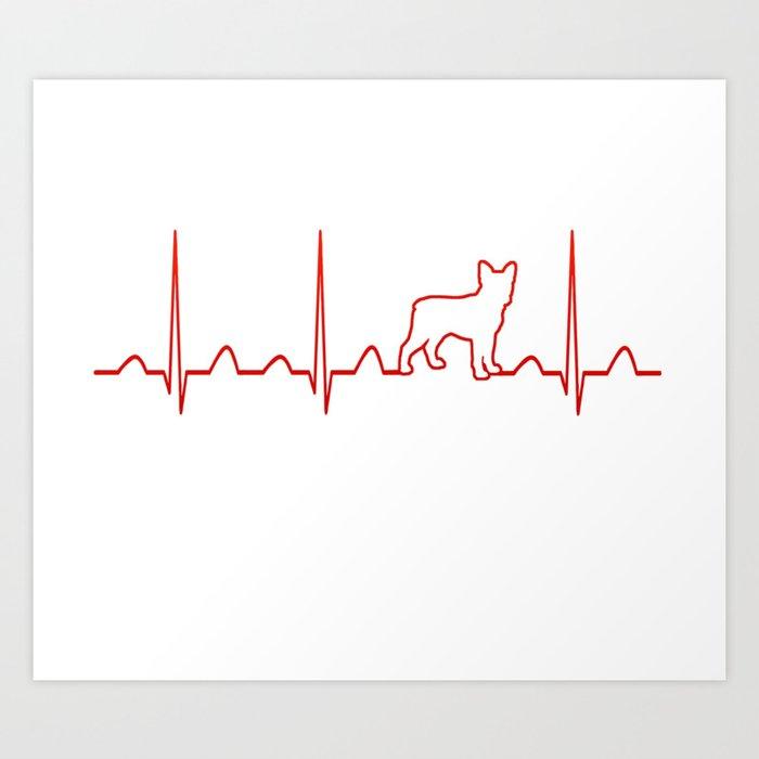 Boston Terrier Heartbeat Art Print