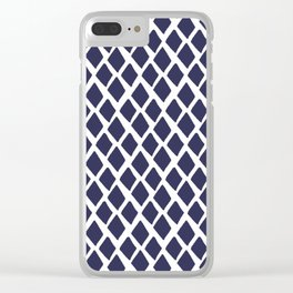 Rhombus Blue And White Clear iPhone Case