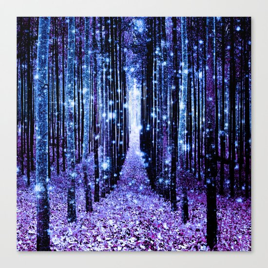 Magical Forest Turquoise Purple Canvas Print