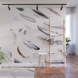 Cosmic Feathers Pink Dust Wall Mural
