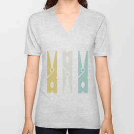 Turquoise and Gold Clothespins Unisex V-Neck