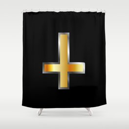 An inverted cross- The Cross of Saint Peter used as an anti-Christian and Satanist symbol. Shower Curtain