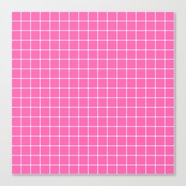 Hot pink - pink color - White Lines Grid Pattern Canvas Print