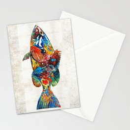 Colorful Grouper Art Fish by Sharon Cummings Stationery Cards