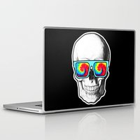 psychadelic Laptop & iPad Skins featuring Psychadelic Skull Tiedye glasses by Chara Chara