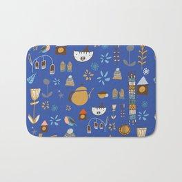 hygge cat and bird blue Bath Mat