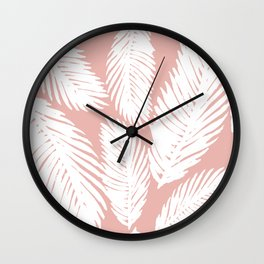 Pink Tropical Leaf Pattern Wall Clock