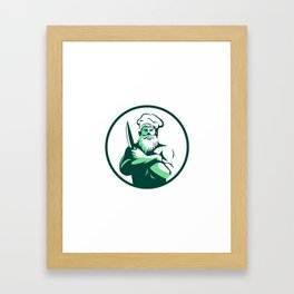 Bearded Chef Arms Crossed Knife Circle Retro Framed Art Print
