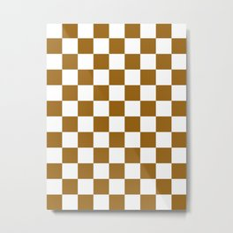 Checkered - White and Golden Brown Metal Print