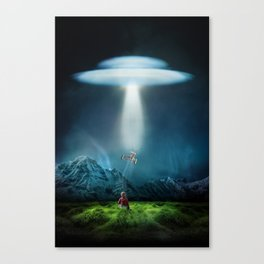 Boy's UFO Encounter Canvas Print