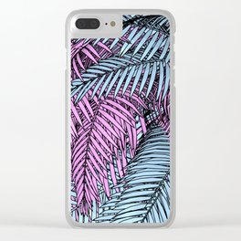 Pink & Blue Palm Tree Clear iPhone Case