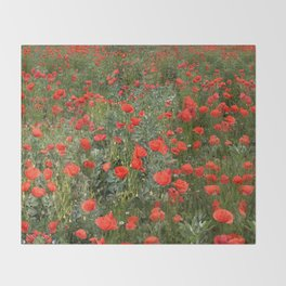 A stroll of poppies Throw Blanket