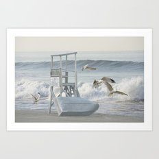 Life Boat and Gulls amidst the Surf Art Print