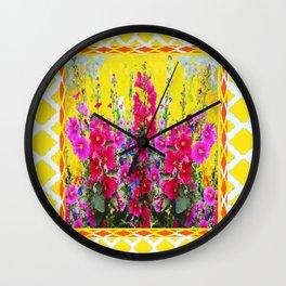 Lemon Yellow-White trellis & Hollyhocks Garden Pattern Wall Clock