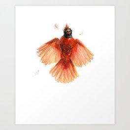 Northern Cardinal - Window Strike! Art Print