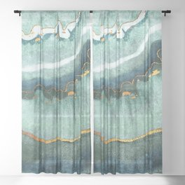 Gold Turquoise Agate Sheer Curtain