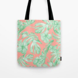 Tropical Palm Leaves Hibiscus Flowers Coral Green Tote Bag
