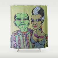 rockabilly Shower Curtains featuring Frankenstein Frankenbride Rockabilly by Just Bailey Designs
